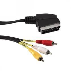 Sbox SCART - 3 x RCA- 1,5M audió kábel