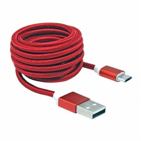 Sbox USB AM-MICRO-15R micro USB kábel - 1,5m,piros
