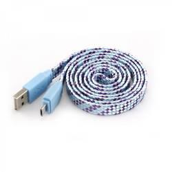 SBOX USB-103CF-BL MICRO USB szines flat kábel,1m,kék