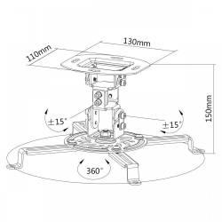 Sbox PM-18 Mennyezeti projektor tartó konzol,forgatható,dönthető